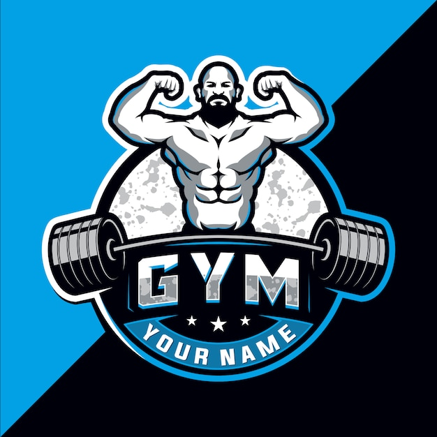 Bodybuilding and gym esport logo design Premium Vector