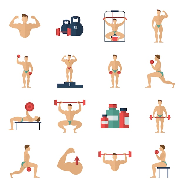 Bodybuilding icons set Free Vector
