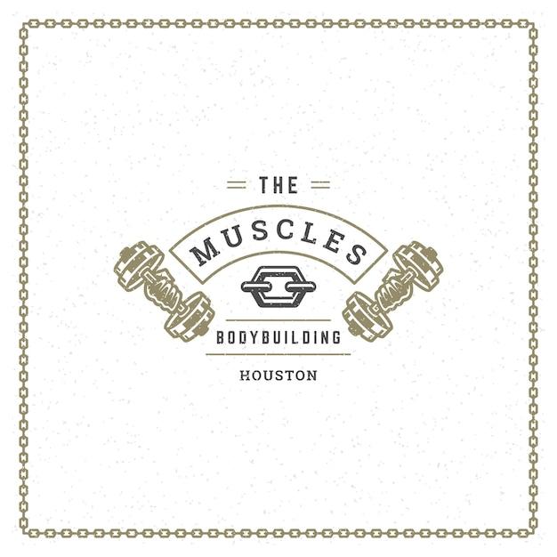 ボディービルのロゴまたはバッジのイラストダンベルシンボルシルエットを保持している男性の手 Premiumベクター