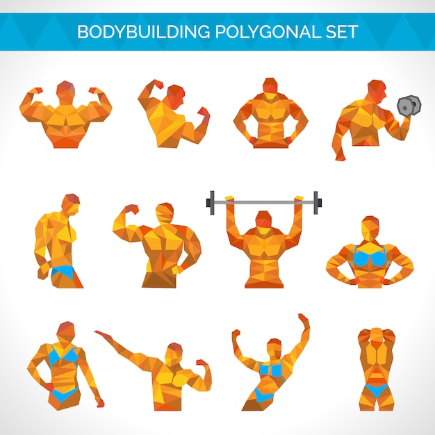 Bodybuilding polygonal icons set Free Vector