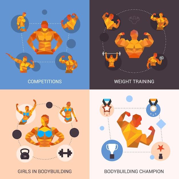 Bodybuilding polygonal set Free Vector