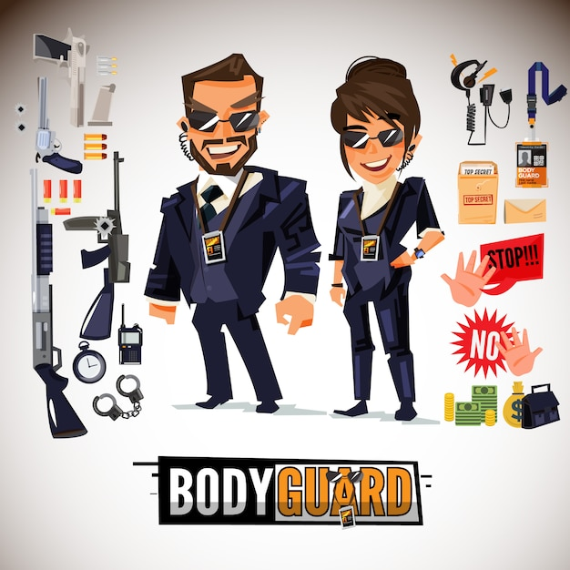 Bodyguard couple with equipment set Premium Vector