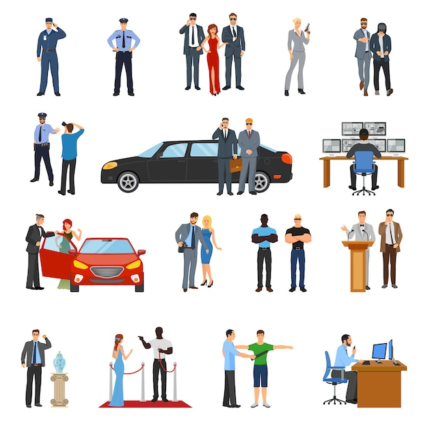 Bodyguard icons set Free Vector