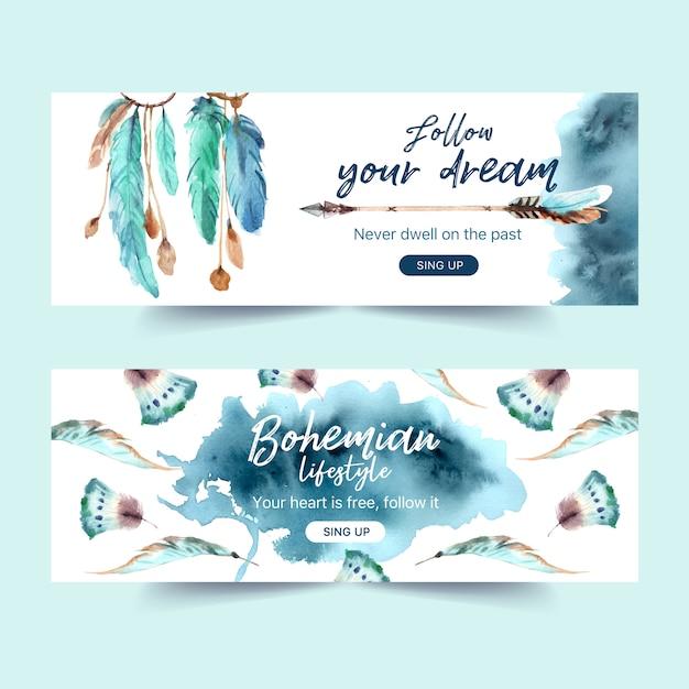 羽、矢印水彩イラストと自由奔放なバナーデザイン。 無料ベクター