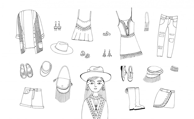 Bohemian fashion style set. boho and gypsy clothes, accessories collection. contour hand drawn illustration. Premium Vector