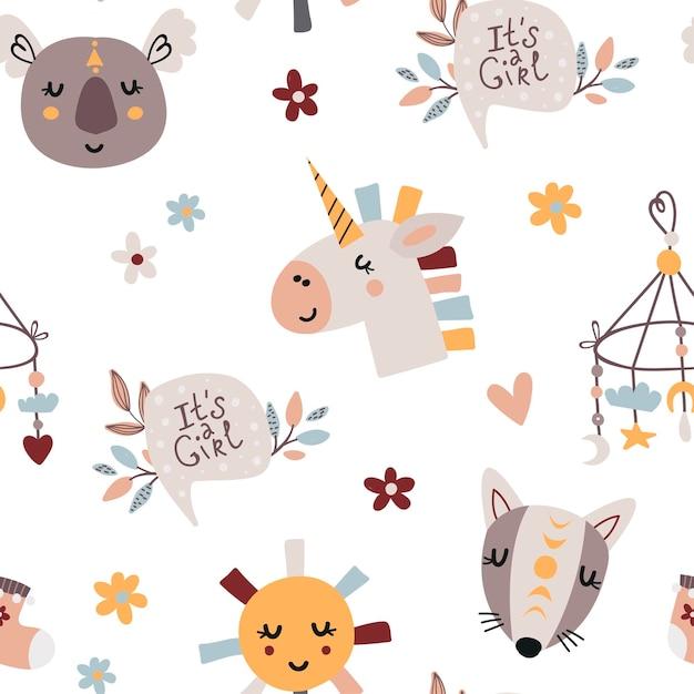 귀여운 아기 요소와 보헤미안 완벽 한 패턴입니다. 침실, 벽지, 어린이 및 아기 티셔츠 및 착용 패턴, 손으로 그린 보육 그림 프리미엄 벡터