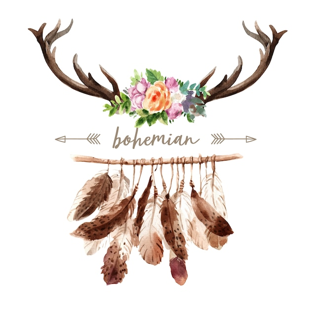 Bohemian wreath design with antler, flower watercolor illustration, Free Vector