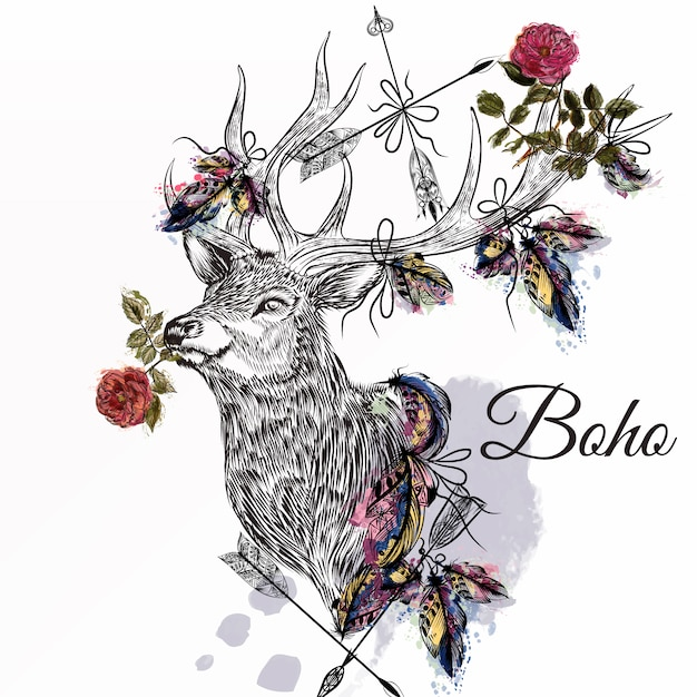 Boho Background Design Premium Vector