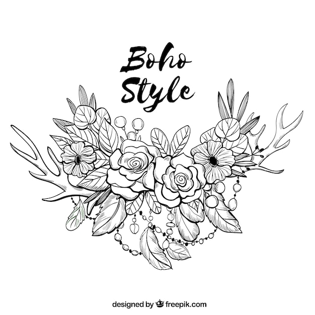 Boho background in hand drawn style Free Vector
