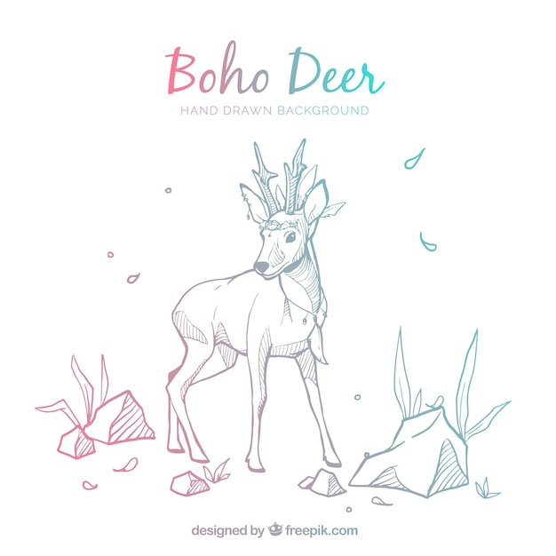 Boho background with deer Free Vector