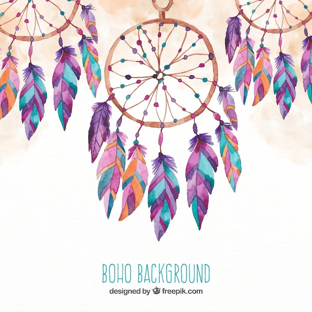 Boho background with dream catchers in watercolor style Free Vector
