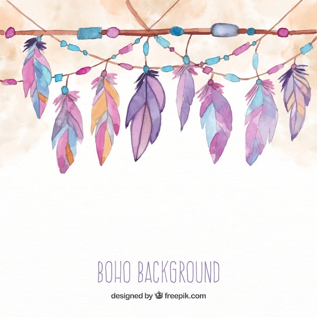 free vector boho background with feathers in watercolor style free vector boho background with