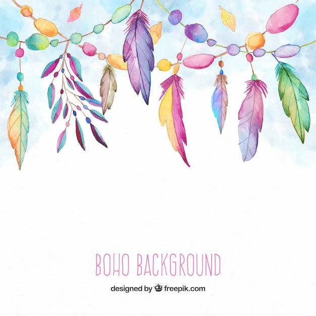 Boho background with feathers in watercolor style Free Vector