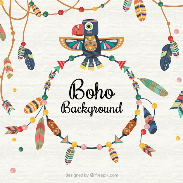 Boho background with feathers Free Vector