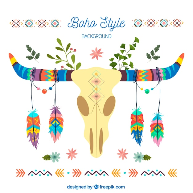 Boho background with hand drawn style Free Vector