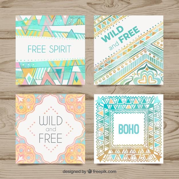 Collezione di carte boho in stile acquerello Vettore gratuito