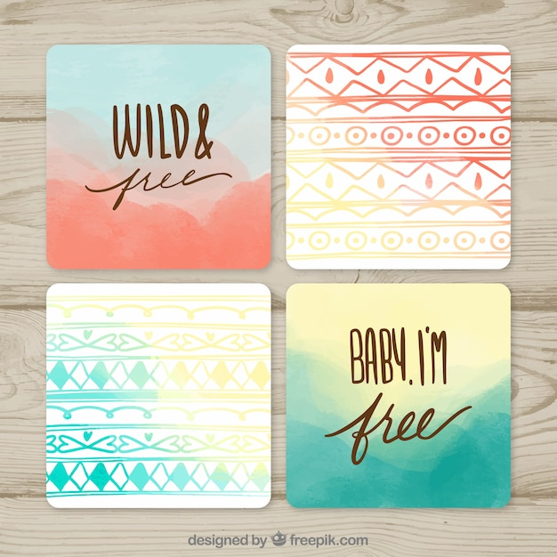 Boho cards collection with hippie elements Free Vector