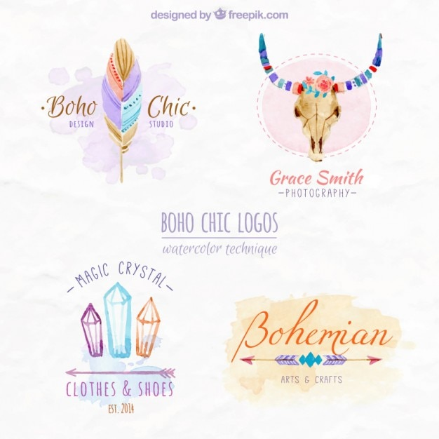 Boho Chic Logos Design Vector Free Download
