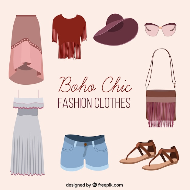 Boho chic total look Free Vector