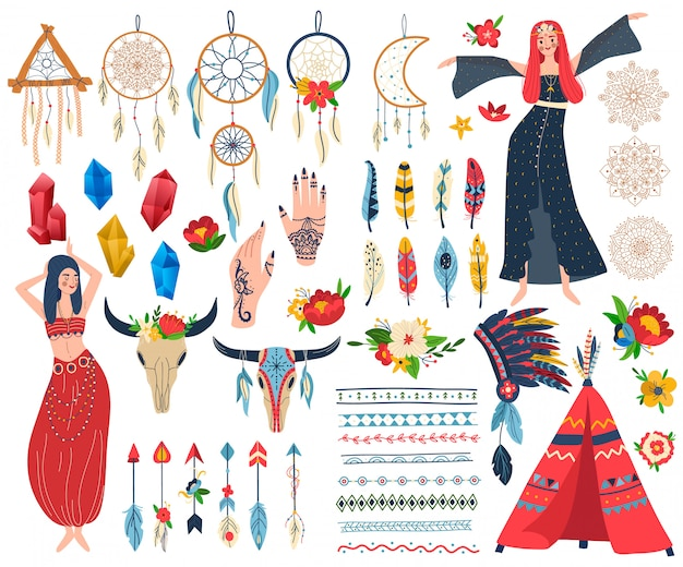 Boho chic vector illustration set Premium Vector