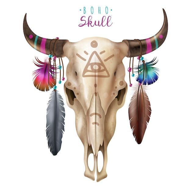 Boho cow skull Free Vector