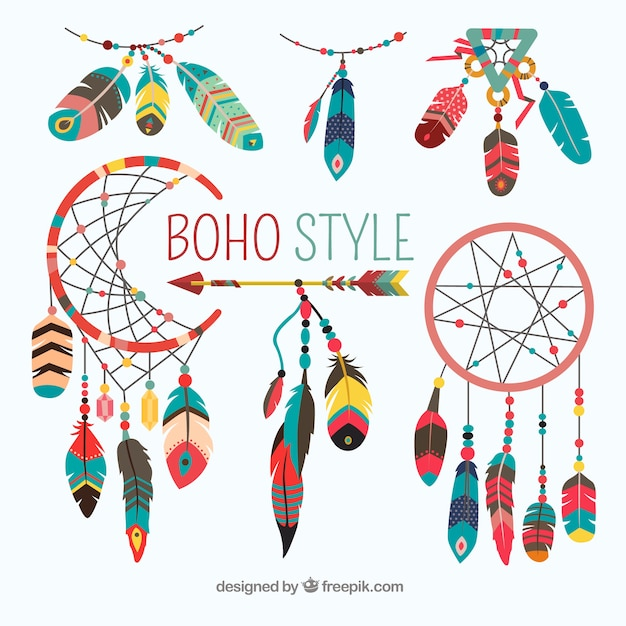 Boho element collection with flat design Free Vector