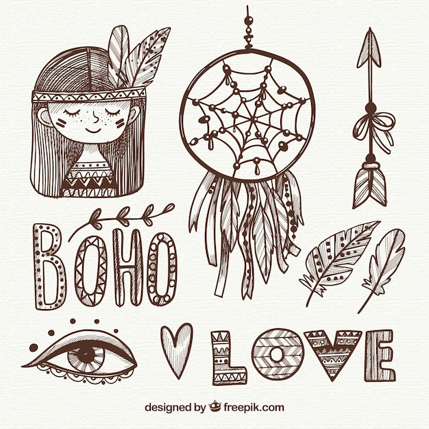 Boho装飾品セット 無料ベクター