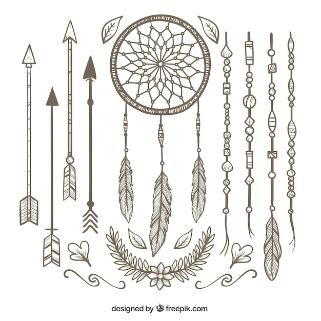 Boho pack with variety of decorative items Free Vector