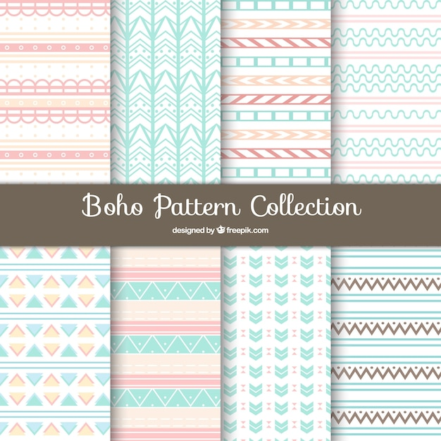 Boho pattern background collection Free Vector