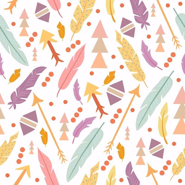 Boho pattern forme geometriche e piume Vettore gratuito