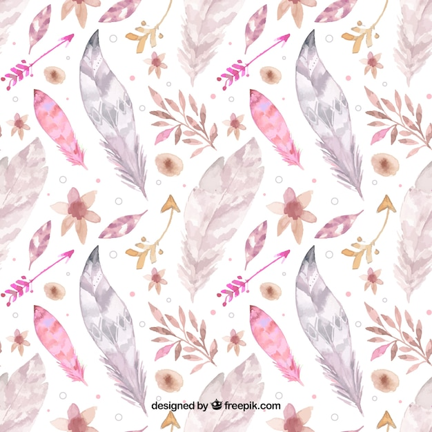 Boho pattern with watercolor feathers Free Vector