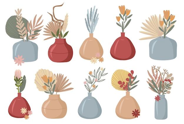 Boho 식물 아름다운 야생 잔디와 꽃 꽃 요소 컬렉션 팜파스 잔디 양귀비 머리 Lavander 면화 및 기타 세련된 평면 프리미엄 벡터