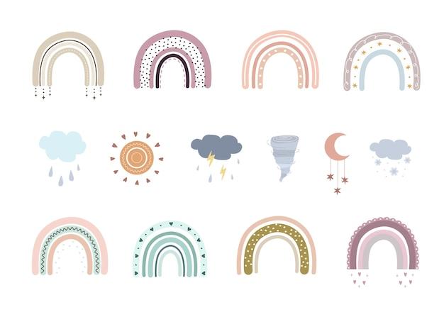 EPS Cầu vồng boho, mây và lốc xoáy. cầu vồng dễ thương trong màu sắc pastel. yếu tố nghệ thuật doodle.