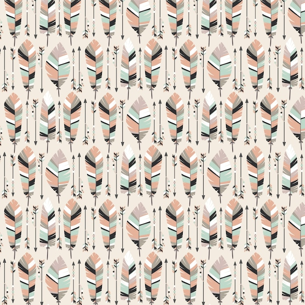 boho seamless pattern with arrows and feathers background vector