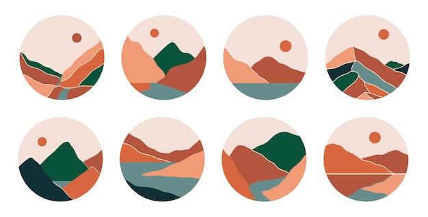 Boho 소셜 미디어 하이라이트는 산, 강, 바다를 포함합니다. 프리미엄 벡터