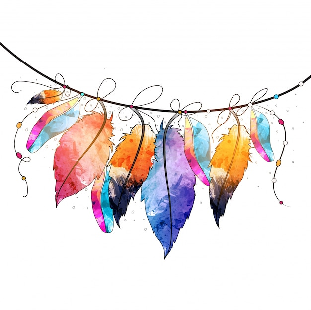 Boho Style Abstract Watercolor Hanging Feathers Design, Creative Hand Drawn  Decorative Element.