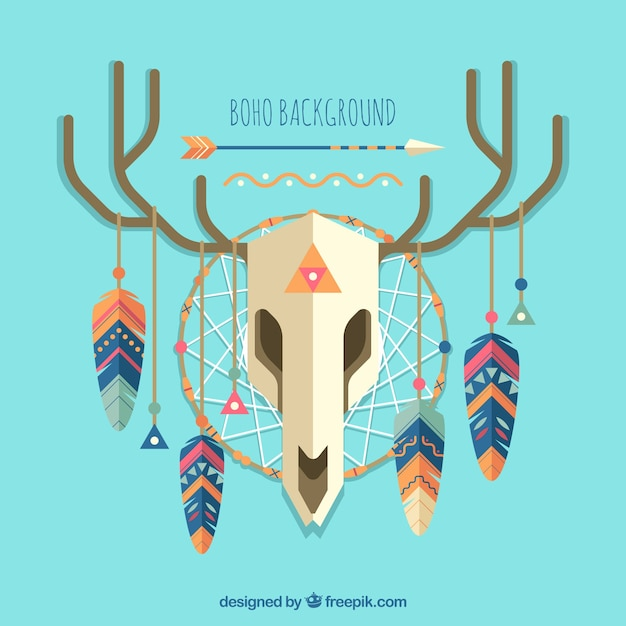 Boho style background with flat design Free Vector