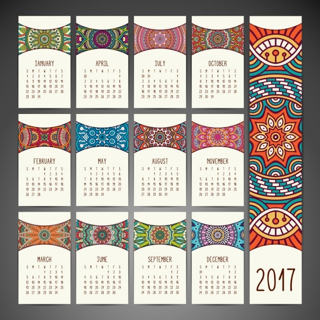 Calendar Design Free Download : Boho style calendar design vector free download
