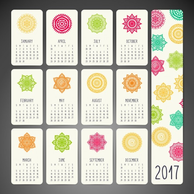 Calendar Design With Photos Free : Boho style calendar design vector free download