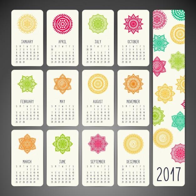 Boho style calendar design Free Vector