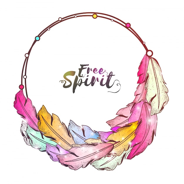 Boho Style Frame With Colorful Ethnic Feathers And Free Spirit Text Design Vector
