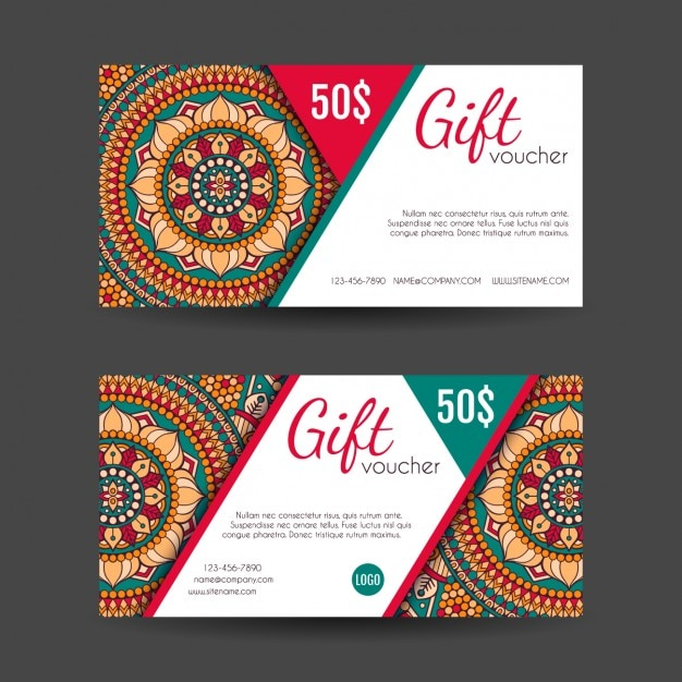 Superior Boho Style Gift Vouchers Designs Free Vector Throughout Design Gift Vouchers Free