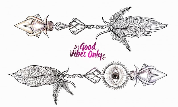 Boho style, hand drawn illustration of ornamental arrows with text good vibes only. Free Vector