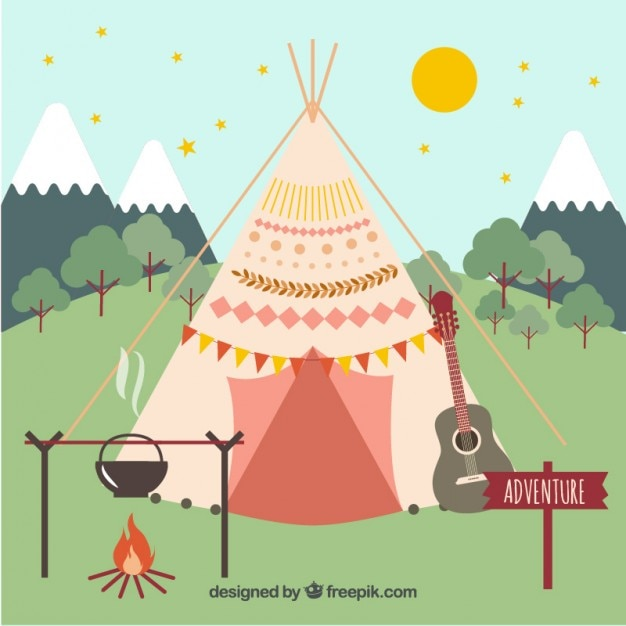Woodlands Campsite At The Formula 1: Boho Tent With Campsite Elements Vector