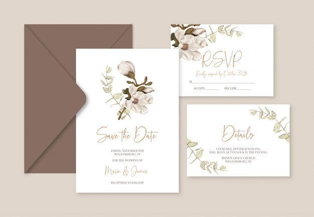 Boho wedding template cards with magnolia  and eucalyptus Premium Vector
