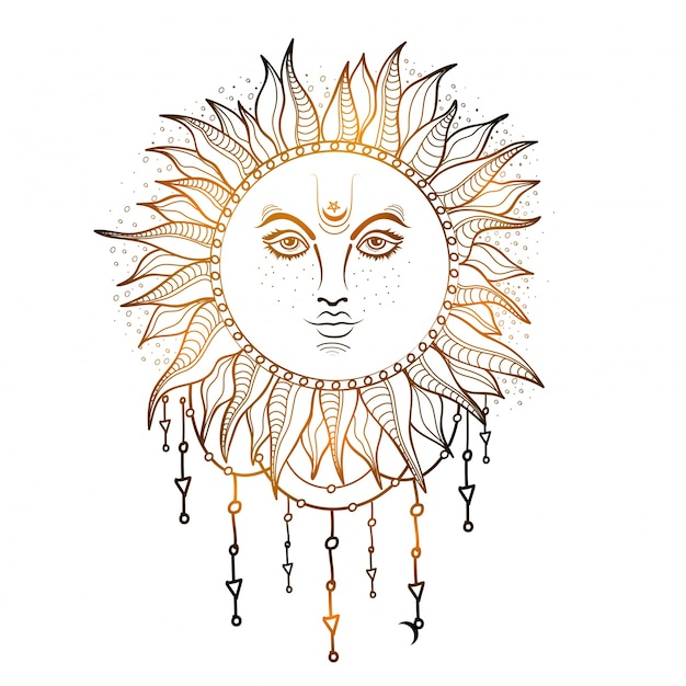 Ручной обращается иллюстрации глянцевое солнце, творческий элемент стиля boho. Бесплатные векторы