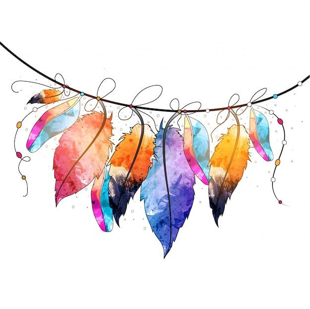 Boho стиль абстрактные акварель висит перья дизайн, творческий ручной обращается декоративный элемент. Бесплатные векторы