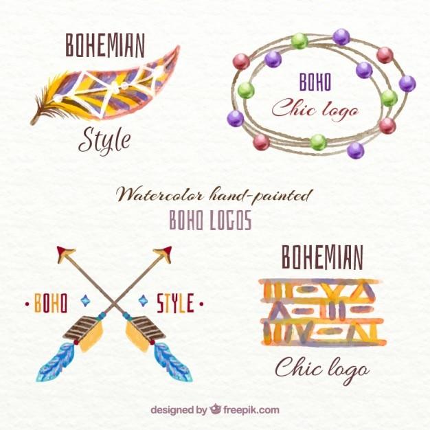 Симпатичные акварель логотипы boho стиль Бесплатные векторы