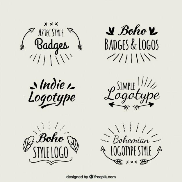 Рукописные логотипы boho Бесплатные векторы