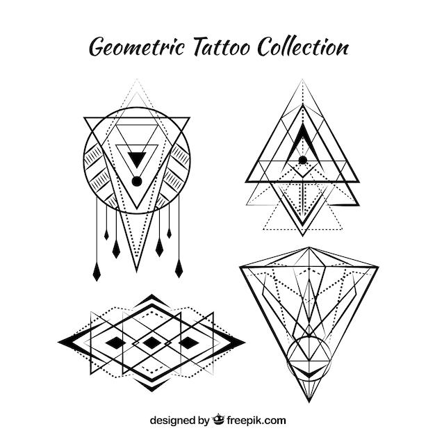 Набор из четырех геометрических татуировок boho Бесплатные векторы